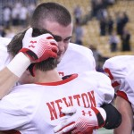 Senior Brandon Corkery consoles senior Jacob Newton after getting knocked out of the playoffs.