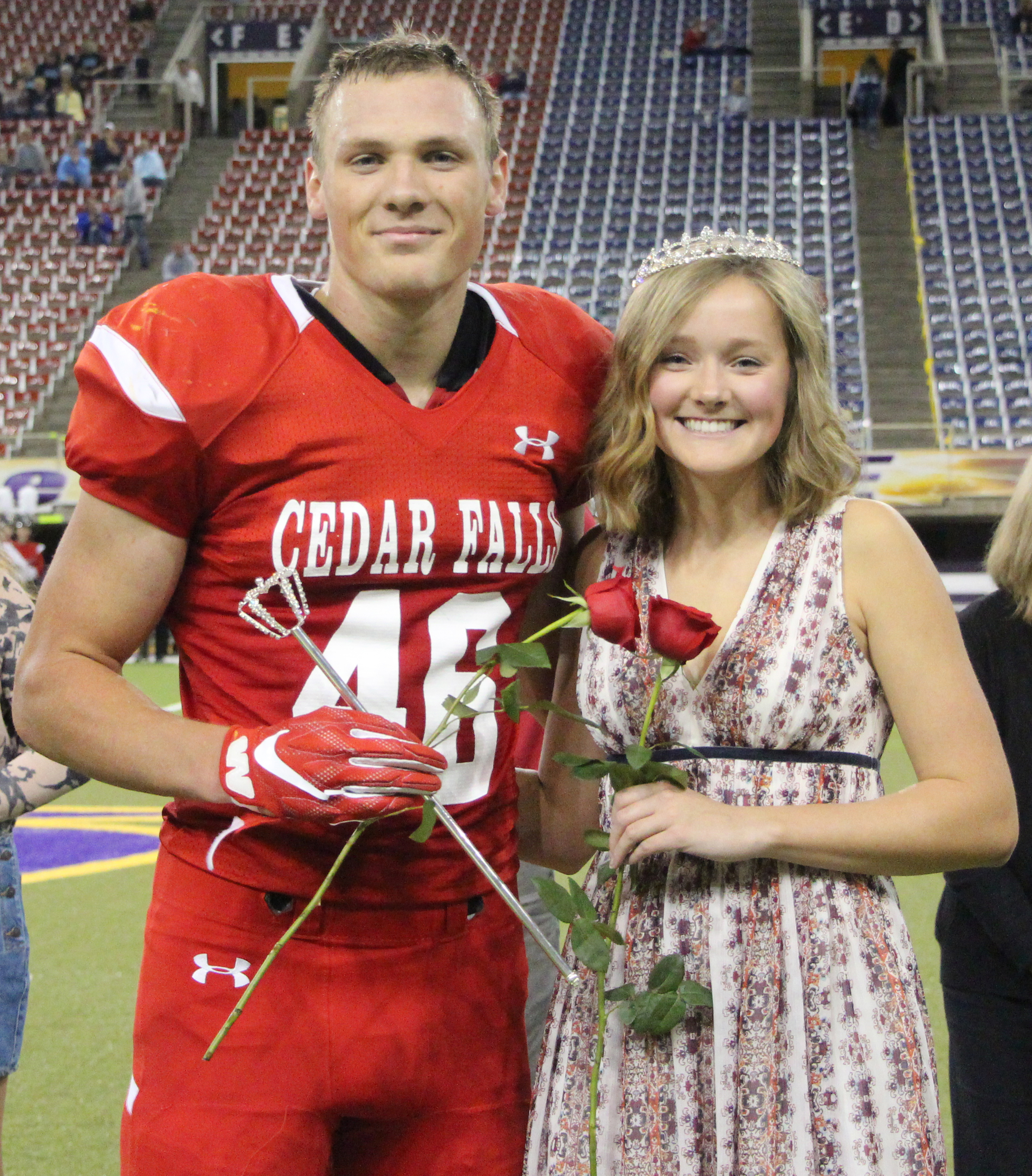 Megan Sawyer and Jack Campbell are crowned homecoming king and queen.
